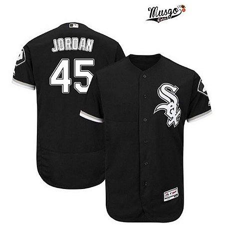 Camisa Esportiva Baseball MLB Chicago White Sox Michael Jordan Numero 45 Preta