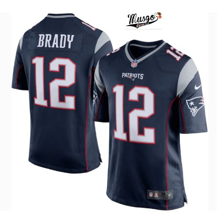 Camisa Esportiva Futebol Americano NFL New England Patriots Tom Brady Numero 12 Azul