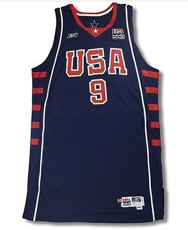 Camiseta Esportiva Regata Basquete Seleção Americana Olimpiadas Atenas 2004 Lebron James Numero 9 Azul