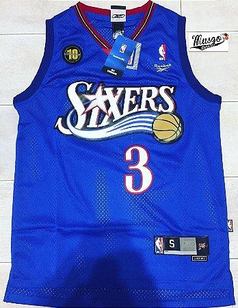Camiseta Regata Basquete  NBA Philadelphia 76ers Celebration Allen Iverson Número 3 Azul