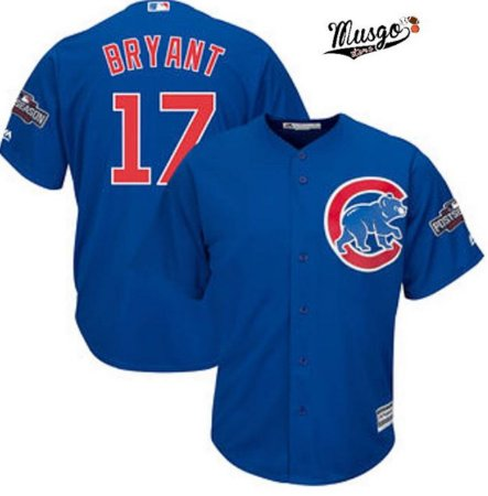 Camisa Esportiva Baseball MLB Chicago Cubs Kris Bryant  Numero 17 Azul