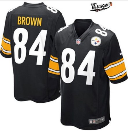 Camisa Esportiva Futebol Americano NFL Pittsburgh Steelers Antônio Brown Numero 84 Preta