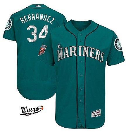 Camisa Esportiva Baseball MLB Seattle Mariners Félix Hernandez Numero 34 Verde