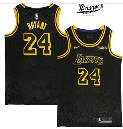 Camiseta Regata Basquete NBA Swingman Los Angeles Lakers Black Mamba Kobe Bryant Numero 24 Preta