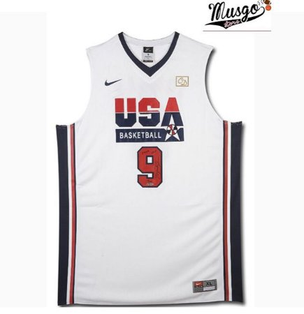 Camiseta Esportiva regata Basquete  Seleção Americana Dream Team Barcelona 1992 Michael Jordan Numero 9 Branca