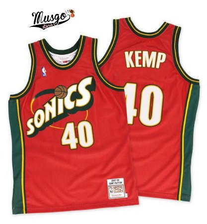 Camiseta Regata Esportiva Basquete  NBA Seattle SuperSonics Shaw Kemp Numero 40 Vermelha
