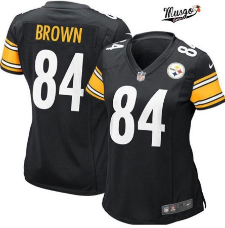Camisa Esportiva Futebol Americano Feminina NFL Pittsburgh Steelers Antônio Brown Numero 84 Preta
