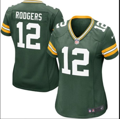 Camisa Esportiva Futebol Americano NFL Green Bay Packers Feminina Aaron Rodgers Numero 12 Verde
