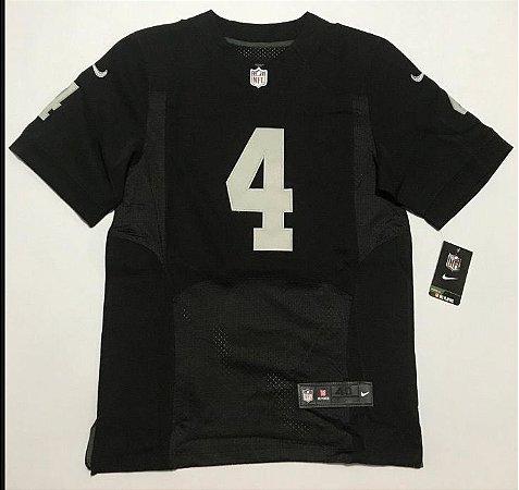 Camisa Esportiva Futebol Americano NFL Oakland Raiders Derek Carr numero 4 preta