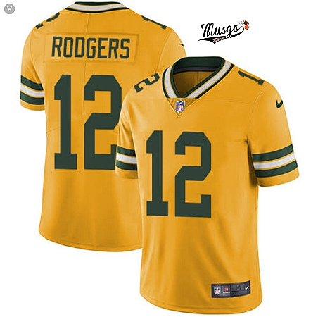 Camisa Esportiva Futebol Americano  NFL Green Bay Packers Rodgers Numero 12 Amarela