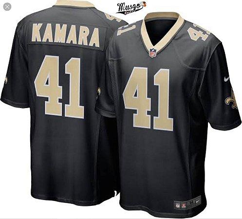 Camisa Esportiva Futebol Americano NFL New Orleans Saints Kamara Numero 41 Preta