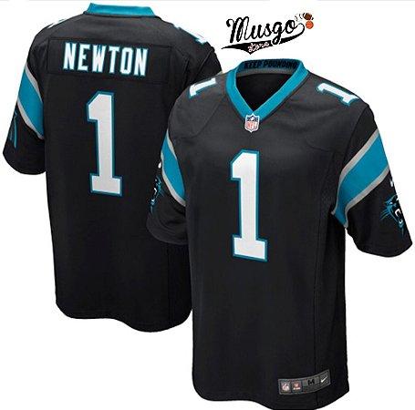 Camisa Esportiva Futebol Americano NFL Carolina Panthers  Can Newton Numero 1 Preta