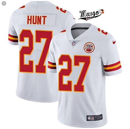 Camisa Futebol Americano NFL Kansas City Chiefs Hunt Numero 27 Branca