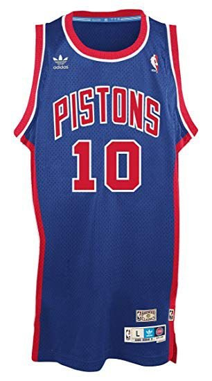 Camiseta Esportiva Basquete Swingman  NBA  Detroit Pistons Bad Boys Dennis Rodman Numero 10 Azul