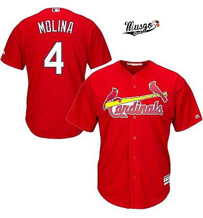 Camisa Esportiva Baseball MLB St. Louis Cardinals Yager Molina Numero 4 Vermelha