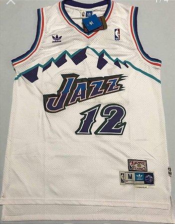 Camiseta Regata Esportiva Basquete  NBA Utah Jazz John Stockton Numero 12 Branca