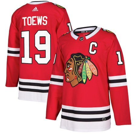 Camisa Esportiva Hockey NHL Chicago BlackHawks Toews Numero 19 Vermelha