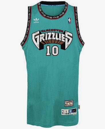Camiseta Esporte Regata Basquete NBA Vancouver Grizzlies Mike Bibby Número 10 Verde