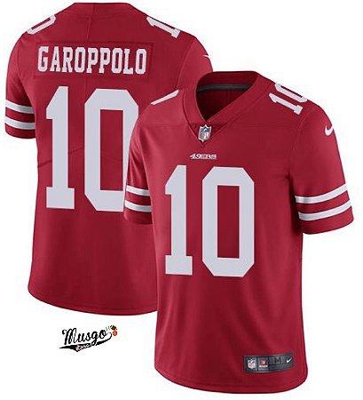 Camisa Esportiva Futebol Americano NFL San Francisco 49ers Jimmy Garoppolo Numero 10 Vermelha