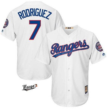Camisa Esportiva Baseball MLB Texas Rangers Ivan Rodriguez Numero 7 Branca