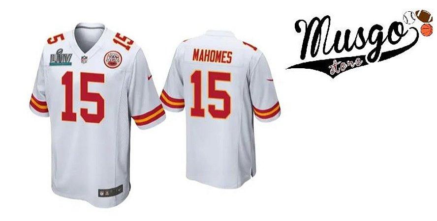 Camisa Esporte Futebol Americano NFL Kansas City Chiefs Patrick Mahomes Número 15 Branca