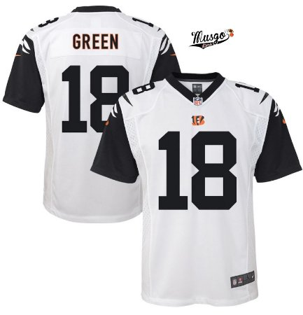 Camisa Esporte Futebol Americano NFL Cincinnati Bengals Green Número 18 Branca  - XXXL