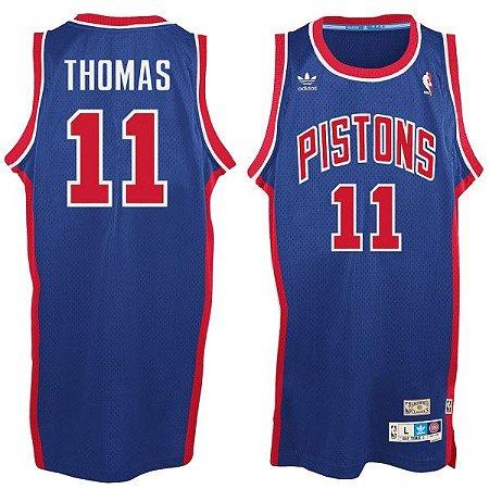 Camiseta Esportiva Regata Basquete NBA Detroit Pistons Bad Boys Isiah Thomas Numero 11 Azul