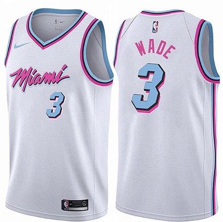 Camiseta Regata Esportiva Basquete NBA Miami Heat Vice White Dwaine Wade Numero 3 Branca