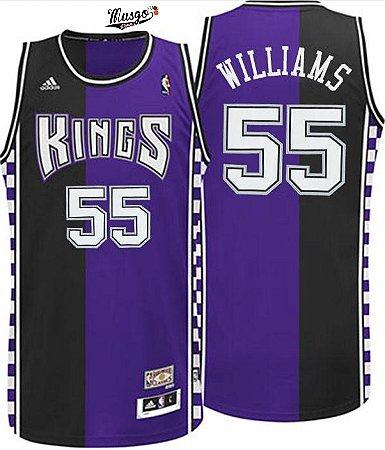 Camiseta Esportiva Regata Basquete NBA Sacramento Kings Jason Williams #55 roxa e preta