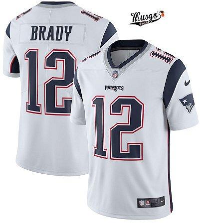 4e60ab88e Camisa Futebol Americano NFL New England Patriots Tom Brady  12 White