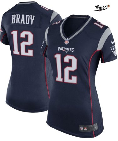 Camisa Esportiva Futebol Americano NFL Feminina New England Patriots Tom Brady numero 12 azul