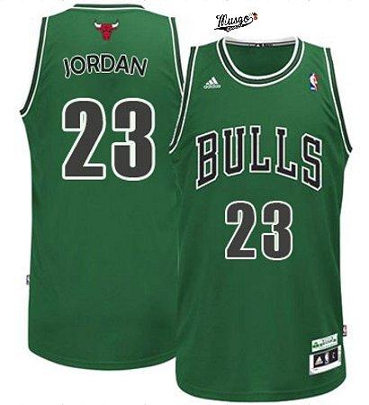 Camiseta Esportiva Regata Basquete NBA Chicago Bulls St. Patricks Michael Jordan Numero 23 verde