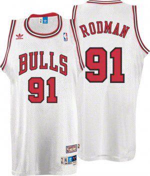 Camiseta Esportiva Regata Basquete NBA Chicago Bulls Dennis Rodman Numero 91 Branca