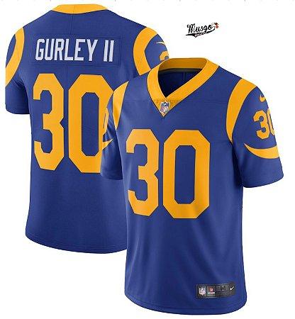 Camisa Esportiva Futebol Americano NFL Los Angeles Rams Todd Gurley II Numero 30 Royal