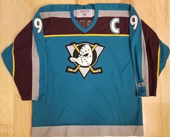 Camisa Esportiva Hockey NHL Anaheim Ducks Super Patos Royal Paul Kariya numero 9 Alternative