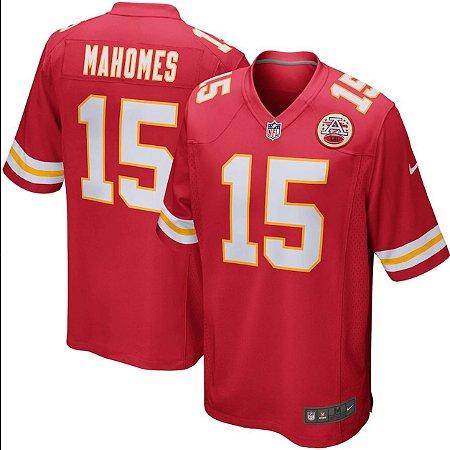 Camisa Esportiva Futebol Americano NFL Kansas City Chiefs Pat Mahomes Numero 15 Vermelha