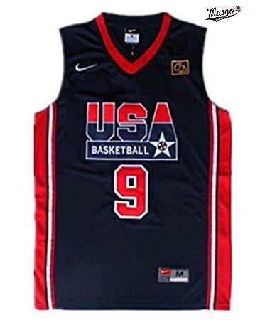 Camiseta Regata Basquete Seleção Americana Dream Team Barcelona 1992 Michael Jordan Número 9 Azul