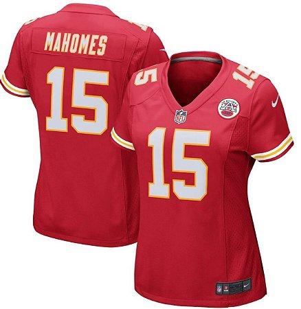 Camisa Esportiva Futebol Americano NFL Kansas City Chiefs Pat Mahomes Numero 15 Feminina Vermelha