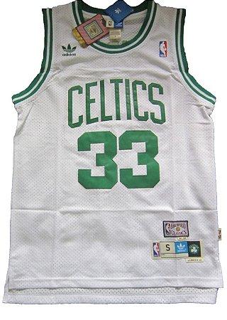 Camiseta Esportiva Regata Basquete NBA Boston Celtics Larry Bird Numero 33 Branca