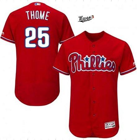 Camisa Esportiva Baseball MLB Philadelphia Phillies Jim Thome Numero 25 Vermelha