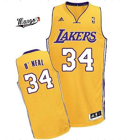 Camiseta Regata Esportiva Basquete NBA Los Angeles Lakers Shaq O'Neal #34 amarela