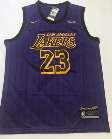 766474501 Camiseta Regata Basquete NBA Los Angeles Lakers Lebron James City Edition   23
