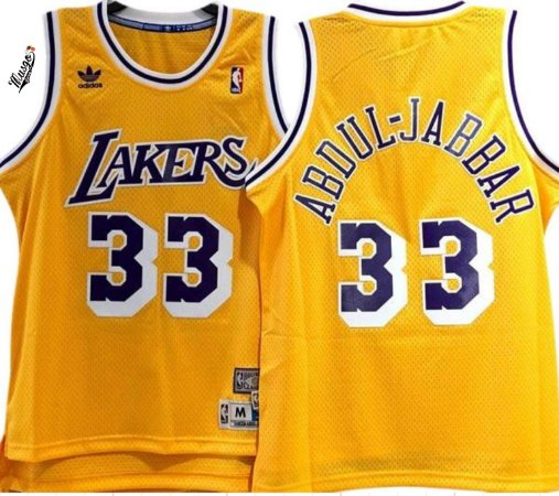 Camiseta Regata Esportiva Basquete NBA Los Angeles Lakers Kareen Abdul Jabbar Numero 33 Amarela