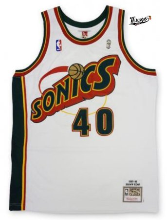 Camiseta Regata Esportiva Basquete NBA Seattle SuperSonics Shaw Kemp Numero 40 Branca