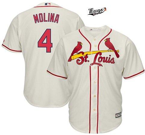 Camisa Esportiva Baseball MLB St. Louis Cardinals Yager Molina #4 Bege