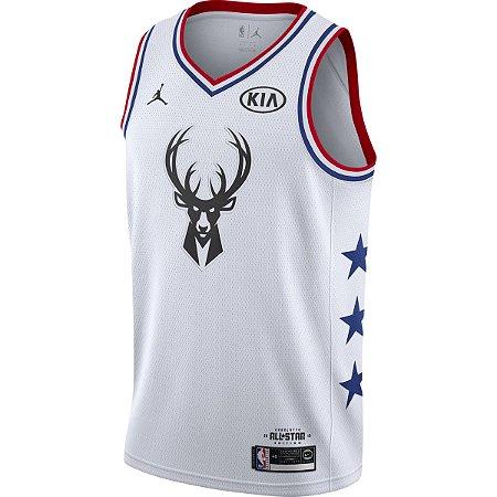 Camiseta Esportiva Regata Basquete NBA All Star Game 2019 Giannis Antetokounmpo Numero 34 Branca