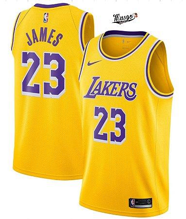 Camiseta Esportiva Regata Basquete NBA Los Angeles Lakers Lebron James Numero 23 Amarela