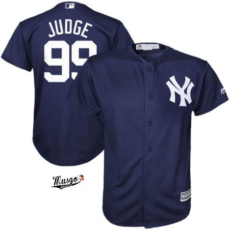 Camisa Esportiva Baseball MLB New York Yankees Aron Judge #99 Azul marinho