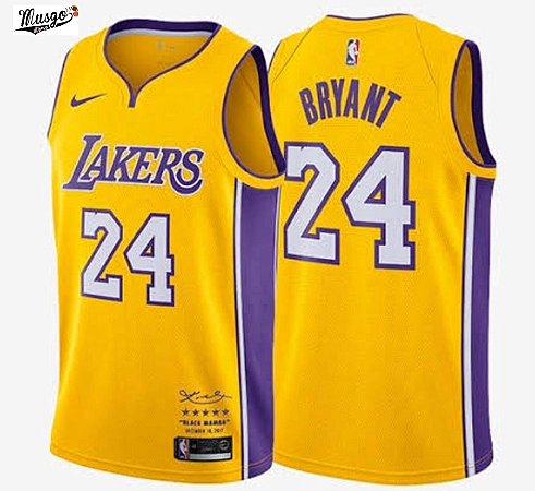 Camiseta Esportiva Regata Basquete NBA Los Angeles Lakers Kobe Bryant Número 24 Edição Aposentadoria