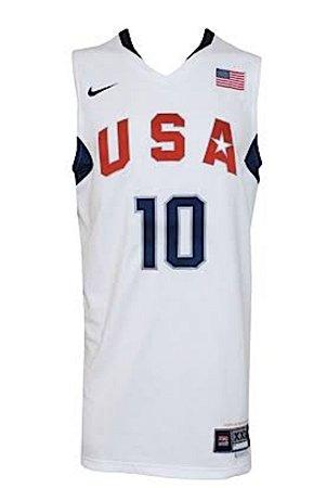 Camiseta Esportiva Regata Basquete Seleção Americana Olimpiadas Pequim 2008 Kobe Bryant #10 Branca